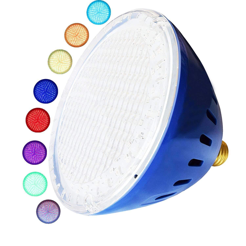 LAMPAOUS LED Pool Lights Bulb, RGB Muliti Color LED Swimming Pool Lights, E26 Base Par56 Under Water Lights Replacement Bulb 120VAC 35 Watt