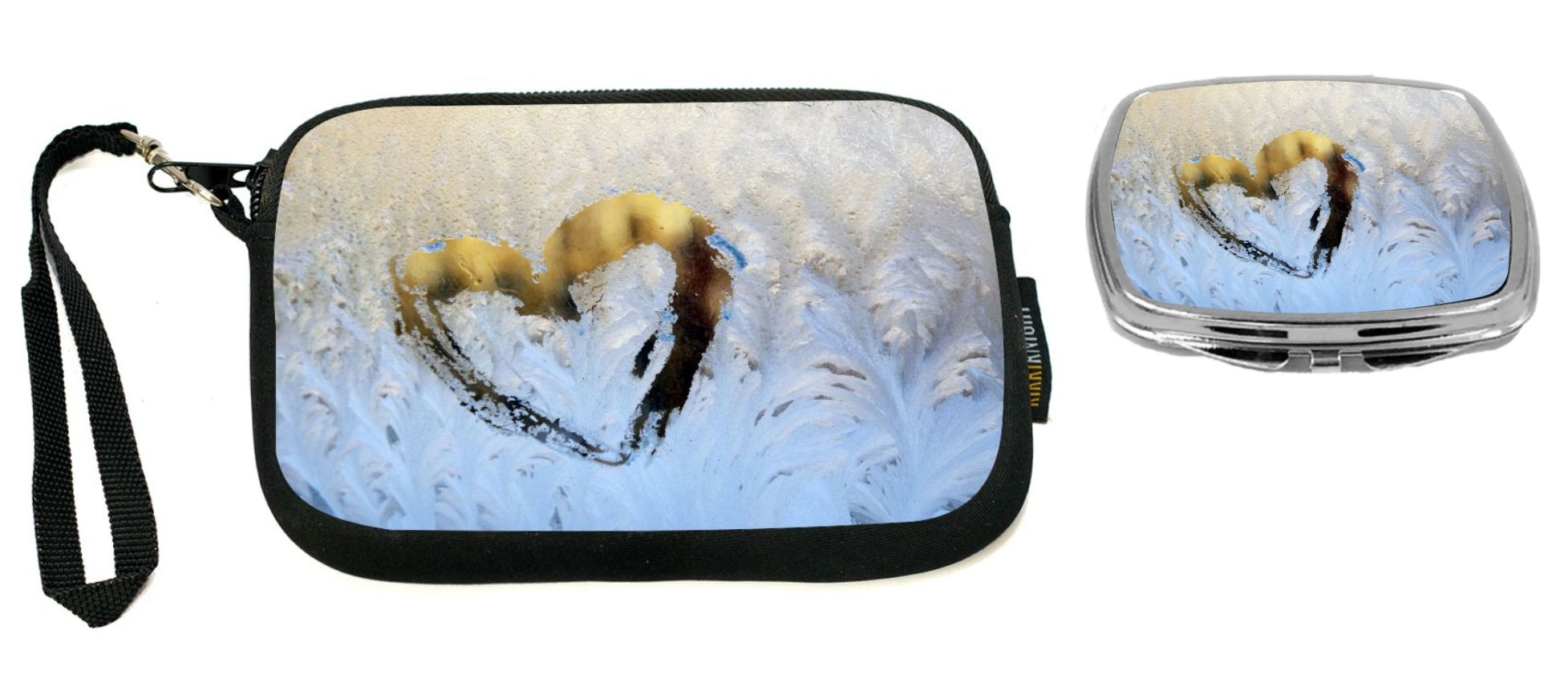 Rikki Knight Heart Drawing On Icy Winter Window Design Neoprene Clutch Wristlet with Matching Square Compact Mirror