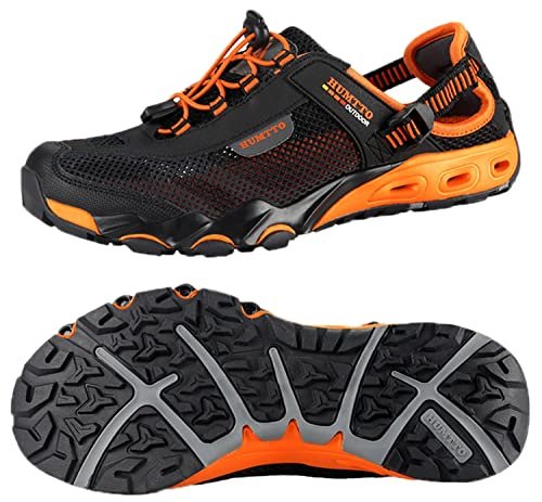 2232dfb2b5496 HUMTTO Mens Outdoor Breathable Upstream Quick-Drying Aqua Mesh Lightweight  Trekking Wading Shoes