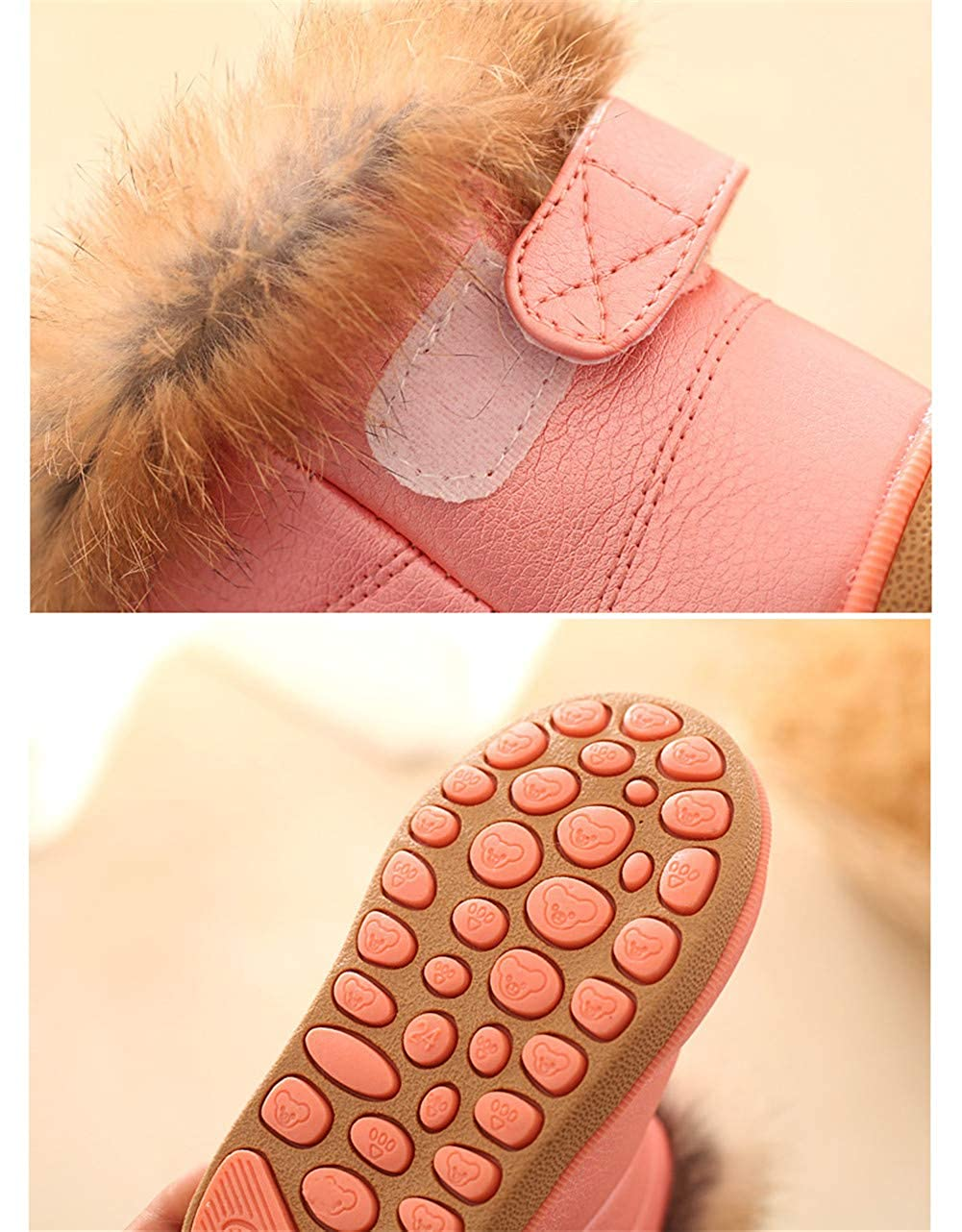 DoMii Toddler Baby Boy Girl Winter Snow Boots Warm Fur Lined Anti-Slip Boots
