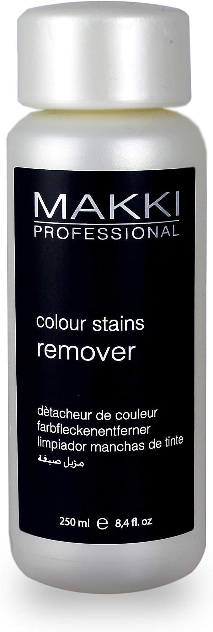 MAKKI Limpiador de tintes, colorantes, colorantes, manchas y manchas para la piel y las manos de la cara, orejas, 250 ml