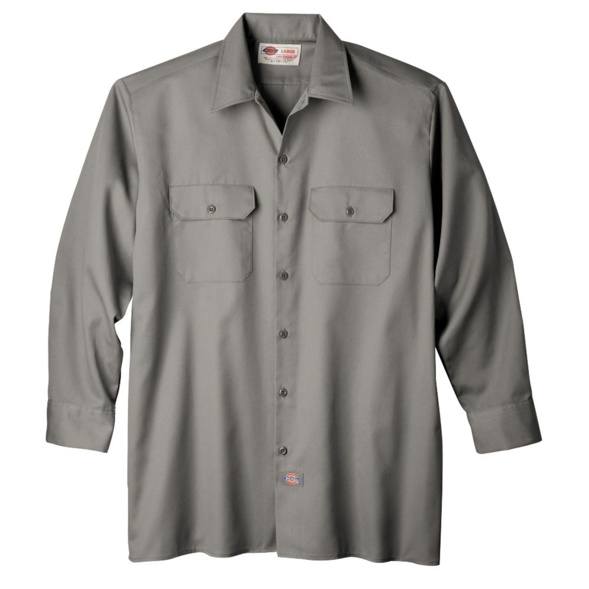 Dickies Men's Long Sleeve Work Shirt, Silver, Small