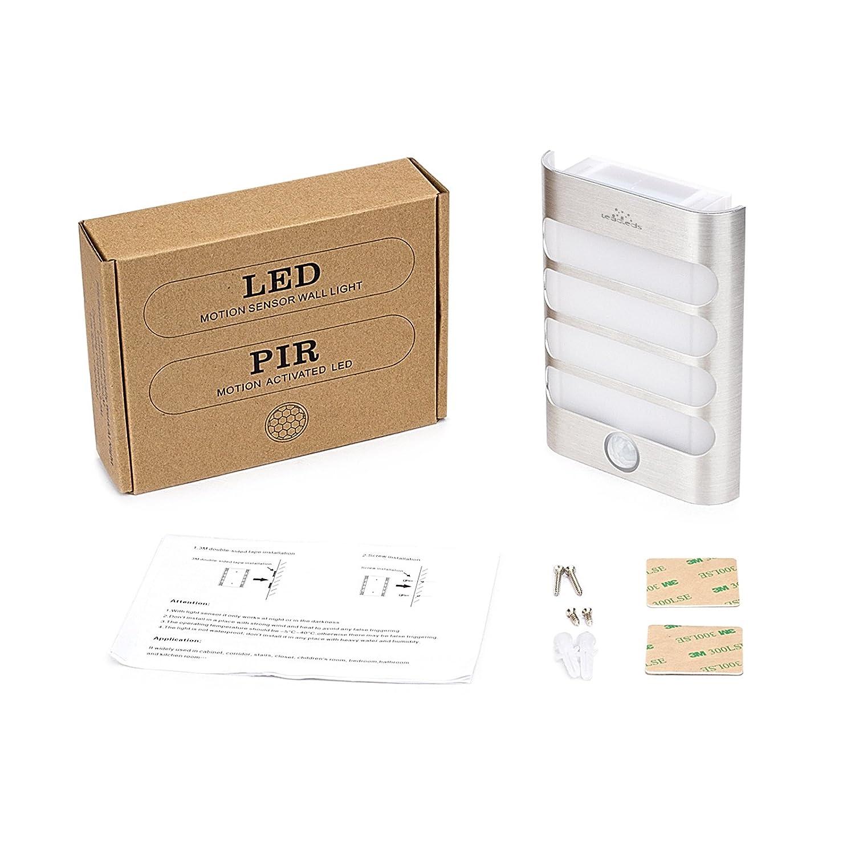 Leadleds inteligente sensor de movimiento - lámpara de pared (2 unidades), color blanco luces de seguridad, LED para escaleras, cocina, cuarto de baño, ...