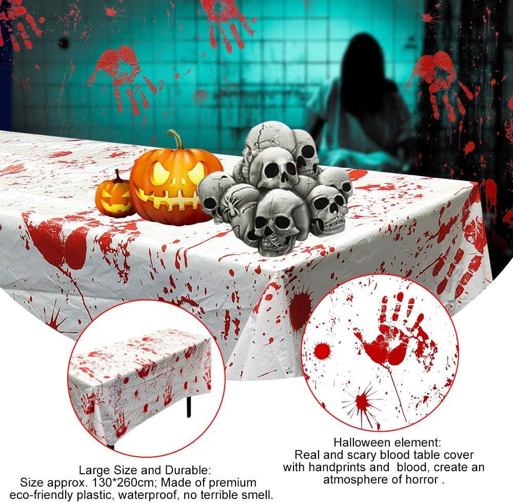 PERFETSELL 2 Pcs Manteles Halloween 130 x 260 cm Decoracion Mesa Halloween Manteles de Sangre de Halloween Decoraci/ón Mantel Sangriento Terror Manteles Halloween para Decorar Mesa para Halloween