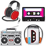"Beistle 54667 Cassette Player Cutouts, 12"" - 14"", 4 Cutouts In Package"
