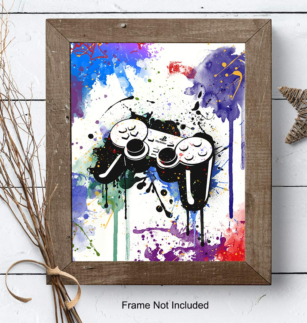 Playstation Video Game Bar Teens Gift for Gamers Video Arcade Remote Control Wall Decor Dorm Kids Bedroom PS4 Gaming Controller Art Poster for Game Room Boys Room Xbox Arcade Fans Men