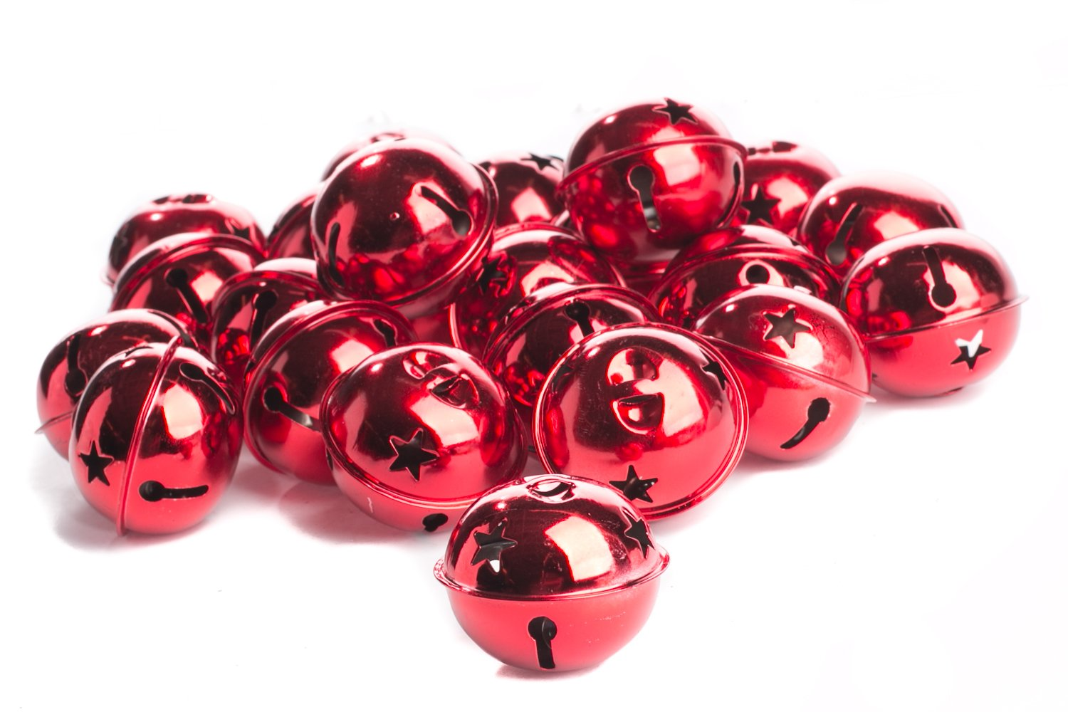 Factory Direct Craft Package of 24 Shiny Red 50mm Christmas Jingle Bells with Star Cutouts by Factory Direct Craft