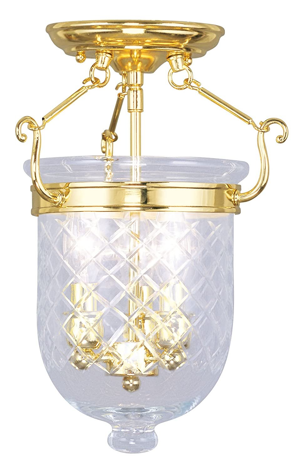Polished Brass Livex Lighting 5071-02 Flush Mount with Clear Diamond Glass Shades