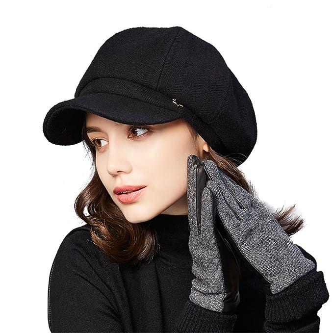 37ea0302090 Kenmont Women s French Beret Hat With Visor Woolen Slouchy Beanie Cloche  Hats Autumn Winter (Black