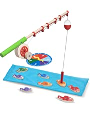 Melissa & Doug Catch & Count Wooden Fishing Game, Developmental Toy, 2 Magnetic Rods, 18.415 cm H x 45.72 cm W x 6.35 cm L