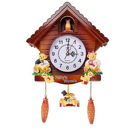 EgBert Antiguo Cuco De Madera Reloj De Pared Pájaro Tiempo ...