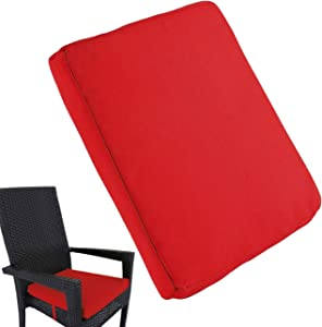 """Uheng 6 Pack Patio Outdoor Chair Cushions with Ties, Seat Pads Mat, Waterproof Removable Cover, Comfort Memory Foam Nonslip for Garden Deck Picnic Beach Pool -18"""" X 18""""(Red)"""