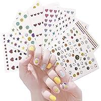 Nagelkunststickers stickers voor vrouwen kinderen,8 vellen lachend gezicht stickers,HOINCO 3D Zelfklevende Lente…