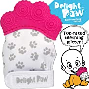 Delight Paw   Baby Teething Mitten   Mom Designed for Self Soothing Pain Relief   Hygienic Travel Bag   Mittens BPA Free   Like Munch Mitt   Baby Boy or Baby Girl   Babies 3-12 Months   Precious Pink