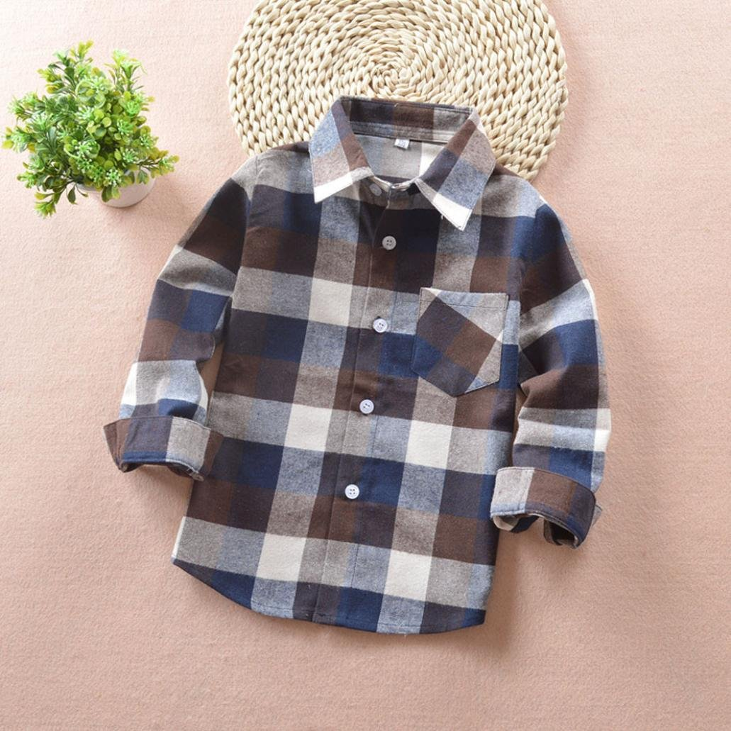 Connia Kids Checks Tops Baby Boys Girls Long Sleeve Plaid Cotton T-Shirt Tops Blouse Clothes Outfits