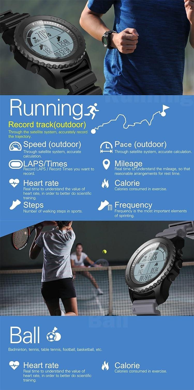 Amazon.com : ZHUOTOP Outdoor Sport Watch GPS Smart Watch Swimming Snorkeling Climbing Wristwatch IP68 Waterproof Heart Rate Clock Round Screen Black ...