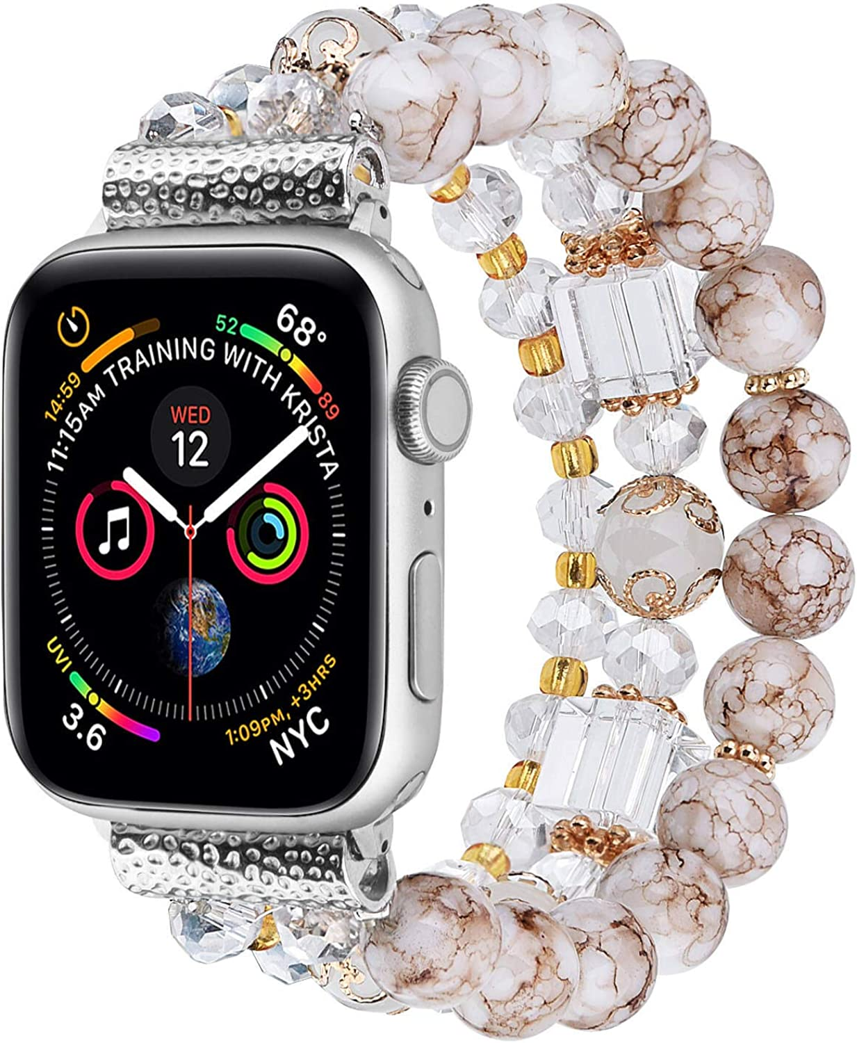 Warewel Compatible For Apple Watch Bands Women 38mm/40mm, Handmade Elastic Apple Watch Band Fits iWatch Series Se/6/5/4/3/2/1, Pretty Beaded Stretch Bracelet Stylish Strap Replacement