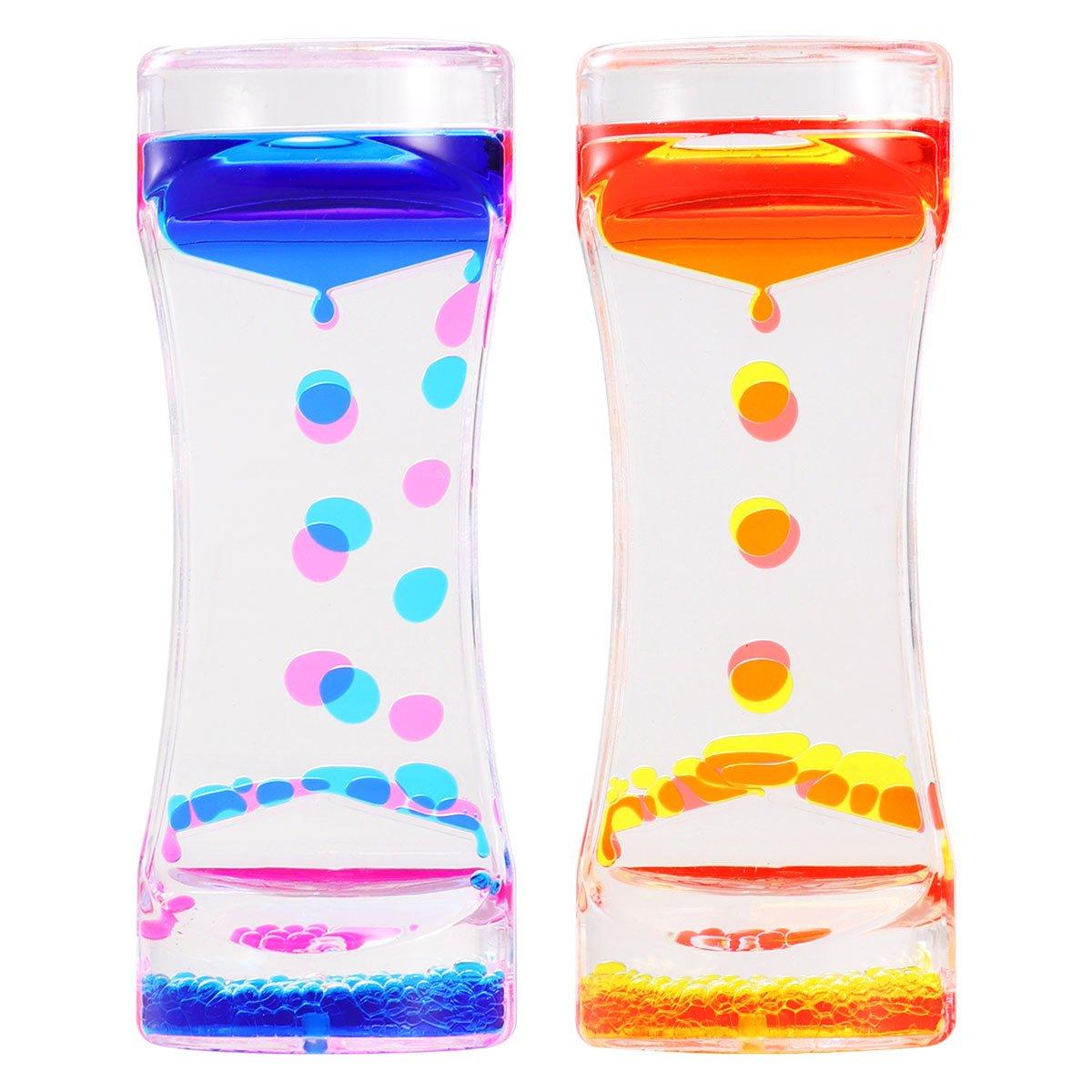 bestomz 2Pcs Liquid Motion Timer Sablier à eau avec Sensory Play, jouet de table Relax comme cadeau
