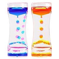 BESTONZON 2 Pack Sablier Liquide/Huile Sablier Liquid-sabliers colorés à bulles Timer, Coloré Huile Sablier Desk Decor Cadeau d'anniversaire Jouet pour enfants