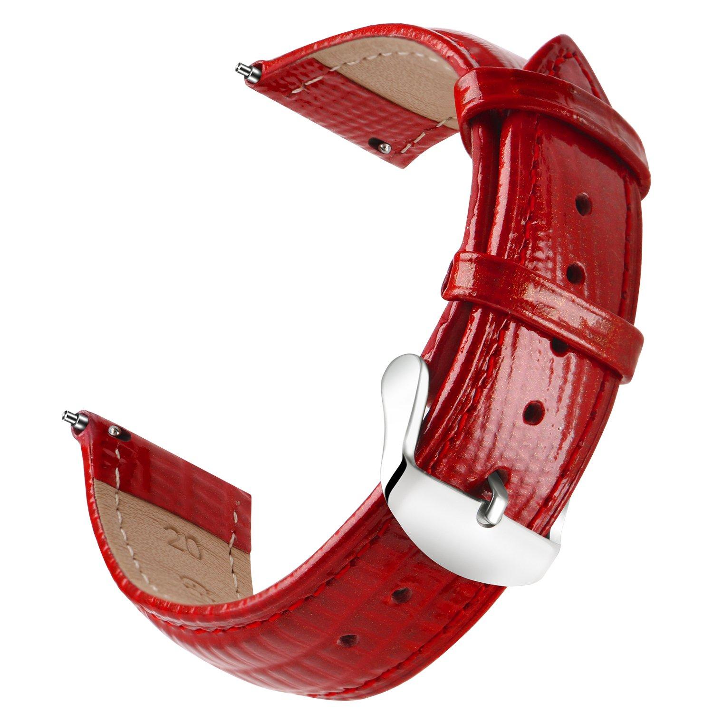 ollrearクイックリリースレザー時計ストラップ交換本革腕時計バンド6色& 6サイズ 18mm レッド 18mm|レッド レッド 18mm B07D7WQW3N