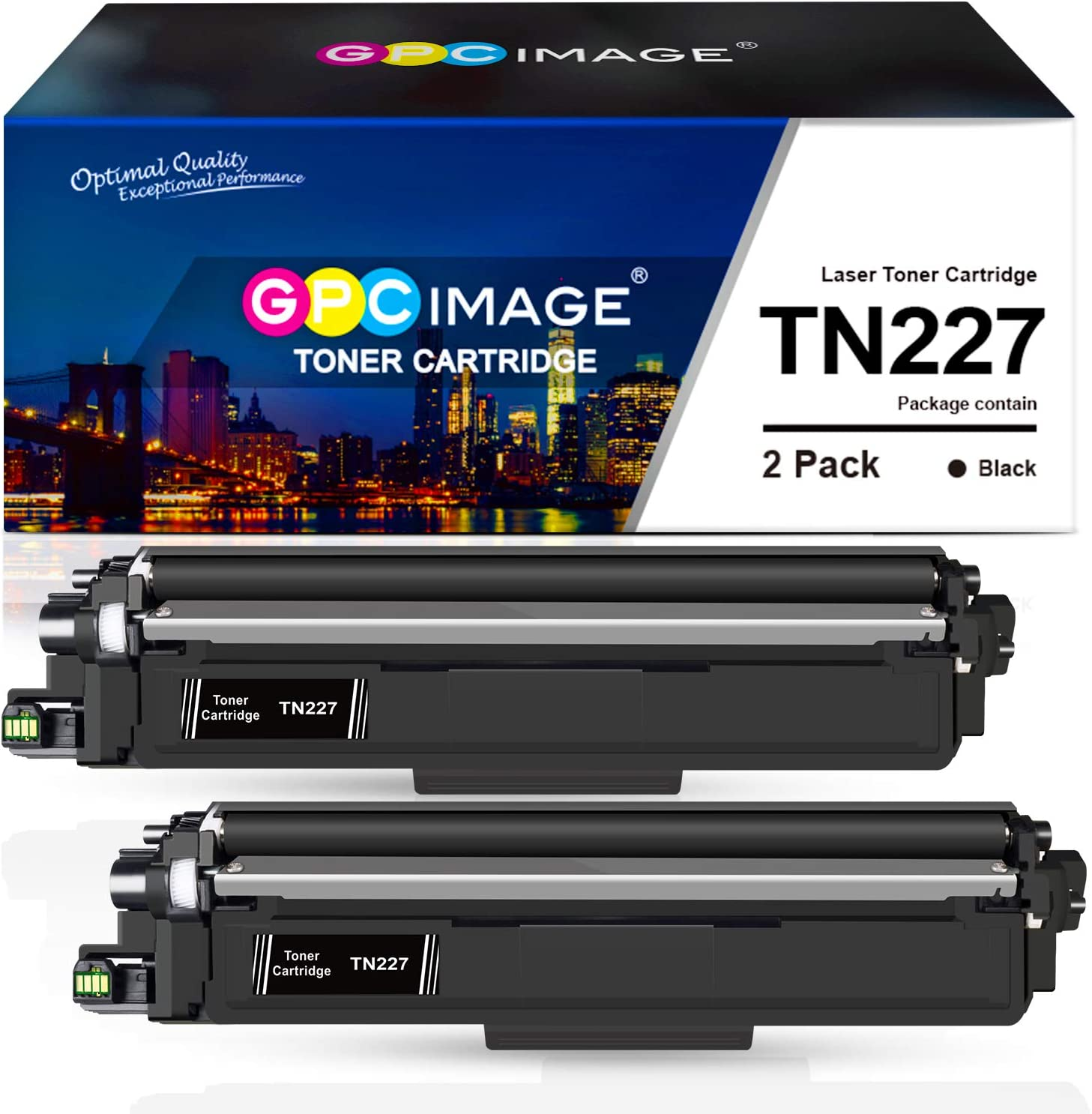 GPC Image Compatible Toner Cartridge Replacement for Brother TN227 TN-227 TN227bk TN223 fit for HL-L3230CDW HL-L3210CW HL-L3270CDW HL-L3290CDW MFC-L3710CW MFC-L3750CDW MFC-L3770CDW Printer (2 Black)