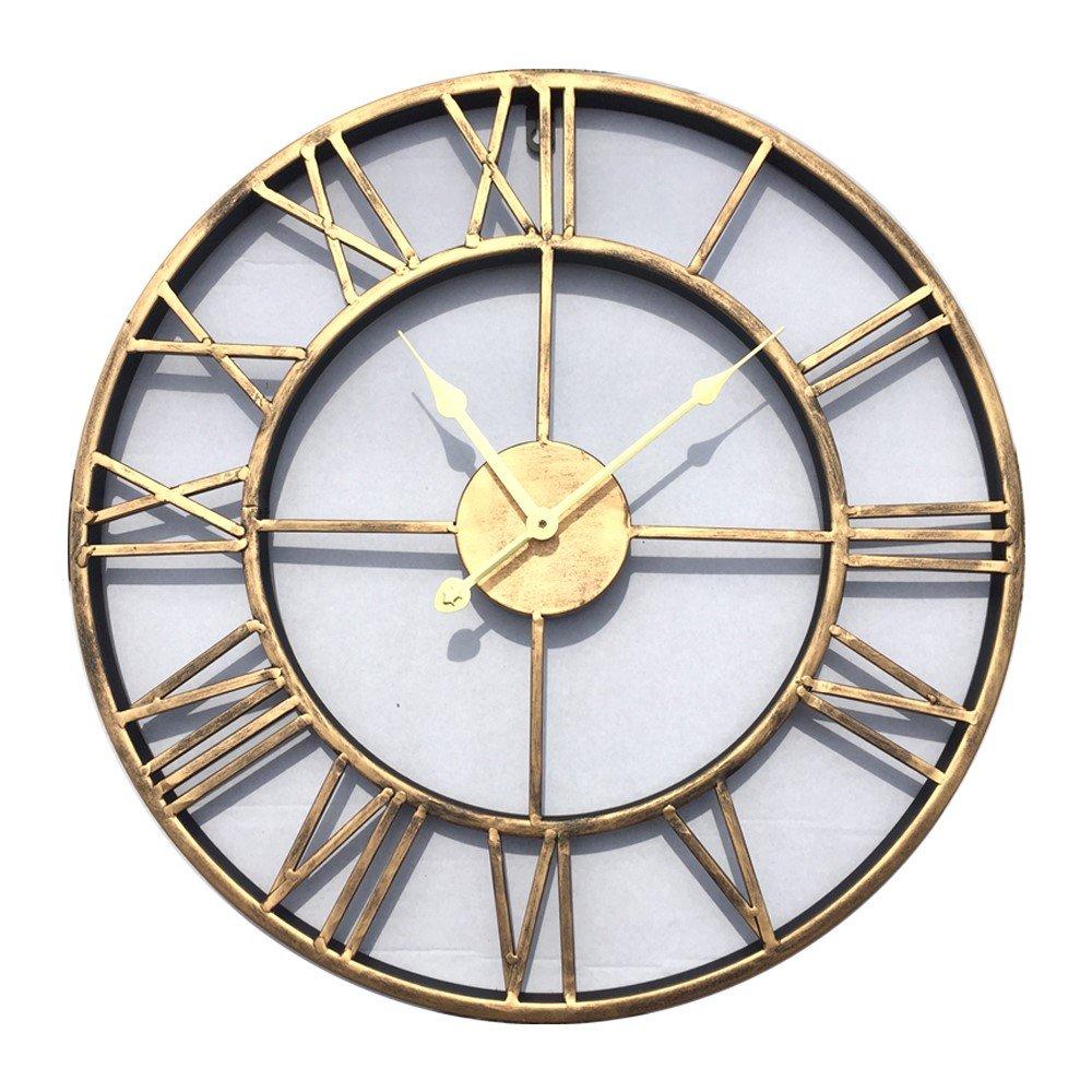 komanakomi アンティーク インテリア ブロンズ 調 アイアン 壁時計 ウォール クロック 大型 50㎝ B01MZFZJJU