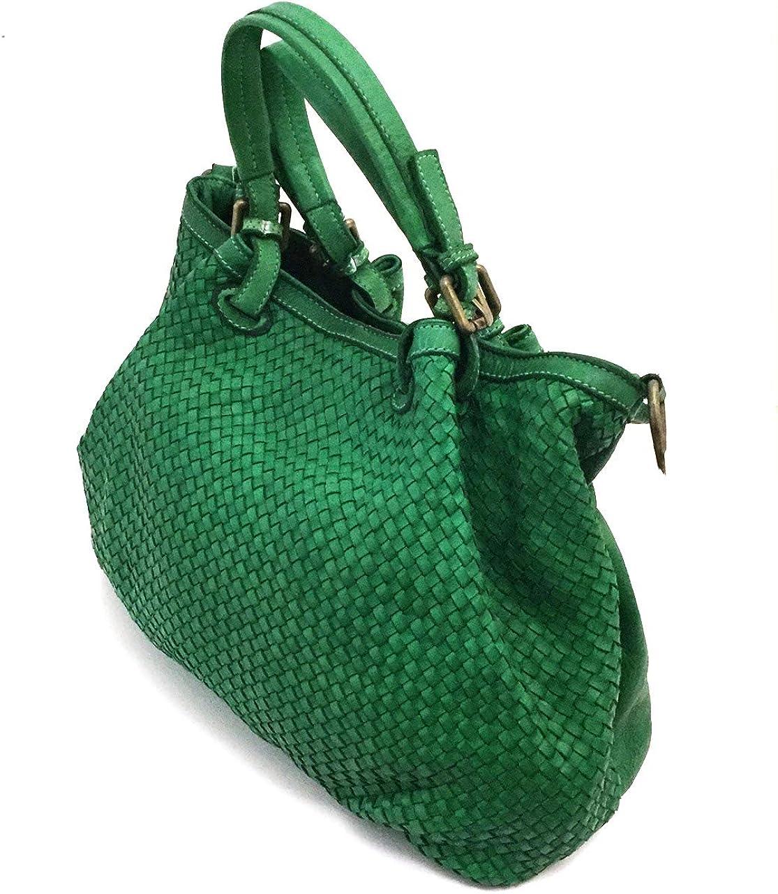 Superflybags Borsa a Mano In Vera Pelle Vintage Intrecciata modello GRANADA Made In Italy Verde Chiaro