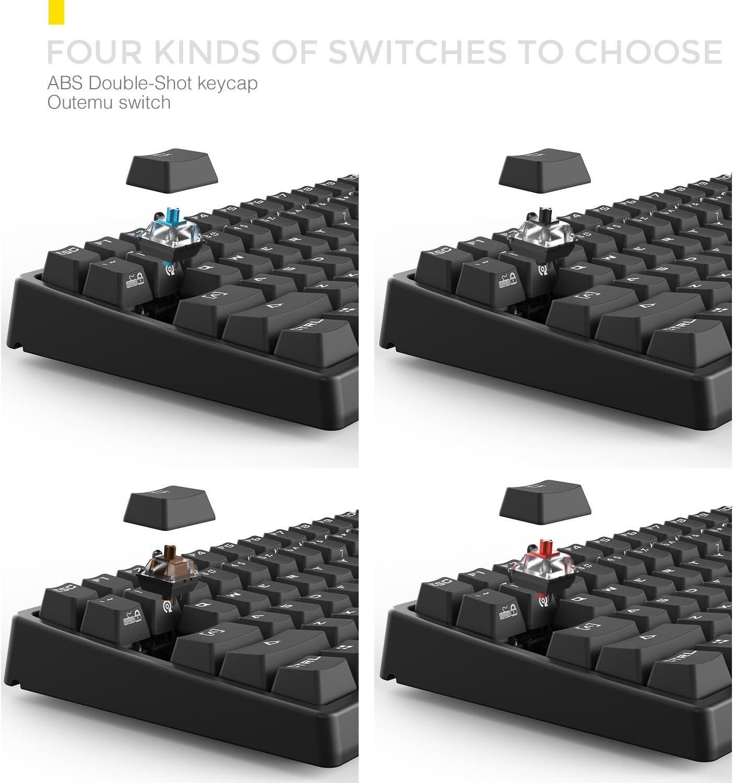 Drevo Gramr 84 teclas Tenkeyless Teclado mecánico gaming retroiluminado Blanco US Layout Switch Marrón