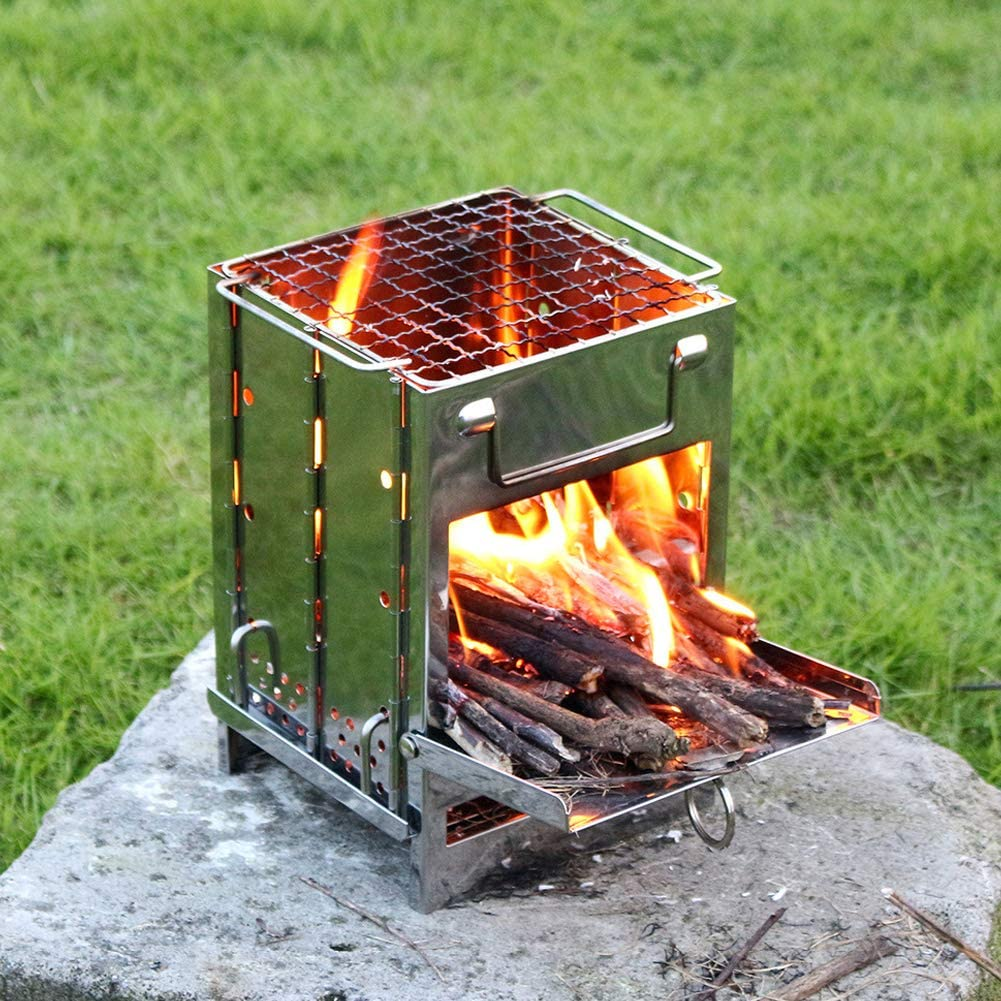 Integrated Folding Firewood Stove BBQ Grill Wood Stove Stainless Steel Plug Pin Type Grill Wood Stove