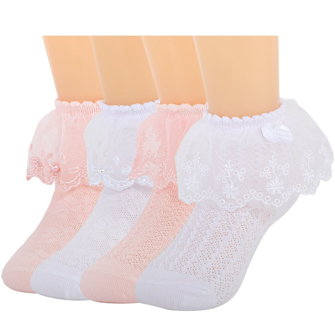 kilofly 4 Pairs Girls Soft Breathable Lace Trim Ruffle Cuff Dress Ankle Socks