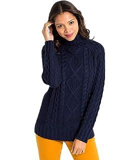 4e3ce4b80c4e Wool Overs Pullover mit Aran-Muster und Rollkragen aus Reiner Wolle für  Damen