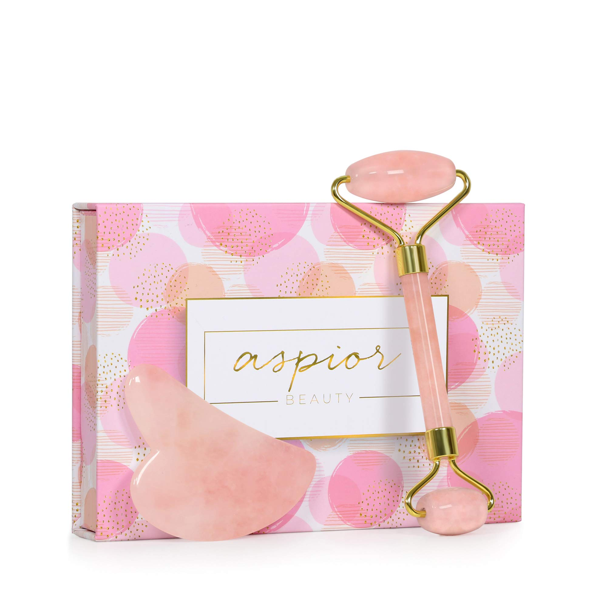 Aspior Jade face roller rose quartz gua sha massage tool Newly Version Natural rejuvenates stone for Anti-face aging neck wrinkgles Checks Eyes slimmer tightening with Gift Box Set (pink)