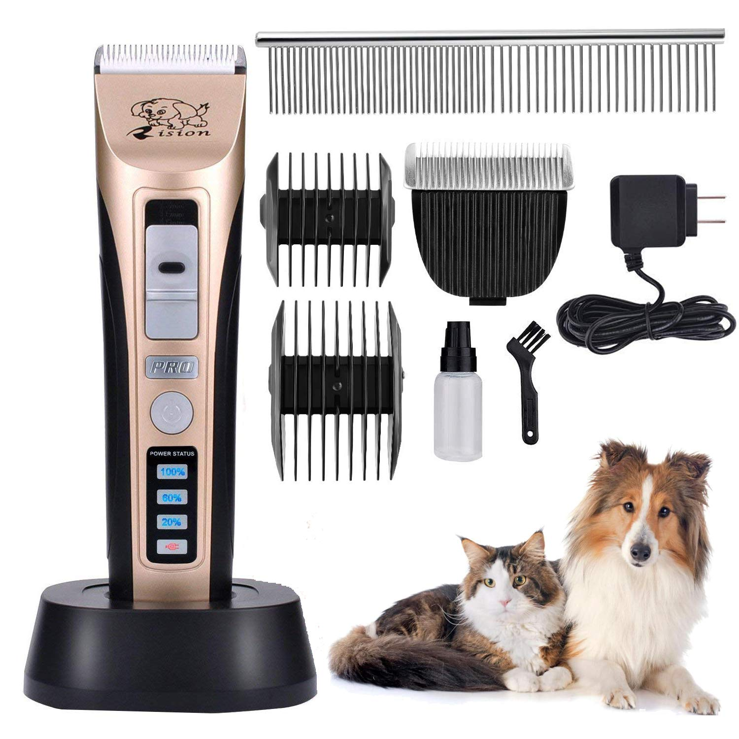 Rision Pet Clippers, Low Noise Rechargeable Cordless Dog Trimmers Professional Animal Grooming Shavers for Thick Hair Dogs, Cats, Rabbits and Horses by Rision