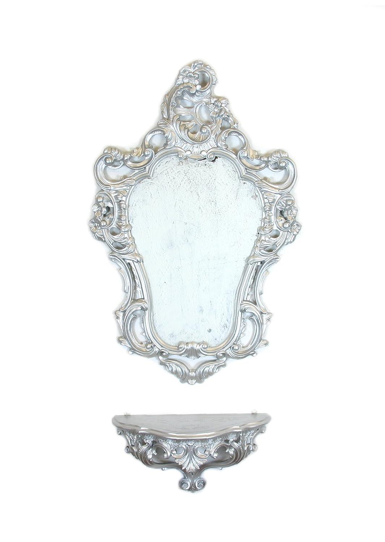 Specchio Parete Nero Oro Nera Dorata Stile Luigi XVI Finto Vintage Ideacasa Set CONSOLLE