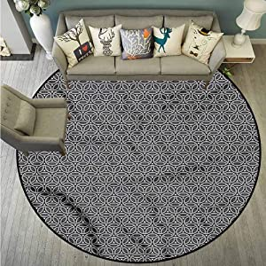 Area Round Rugs,Geometric,Circular Honeycomb,Machine-Washable/Non-Slip,3'3""