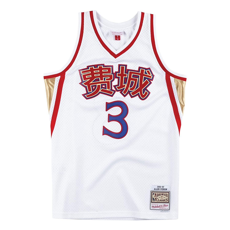 778f6d57384 Amazon.com : Mitchell & Ness Allen Iverson Philadelphia 76ers NBA Men's  White 1996-97 Chinese New Year CNY Swingman Jersey : Sports & Outdoors