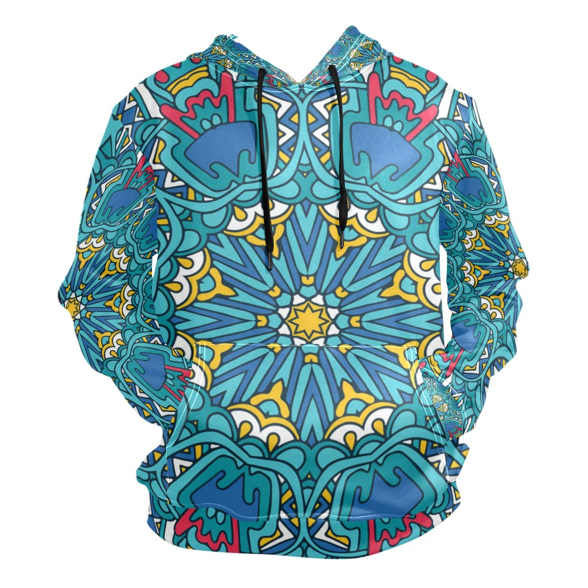 Jeffre Simp Mens Hooded Sweatshirt Flower Psychedelic Colorful Pullover Fashion Hoodie Sweater