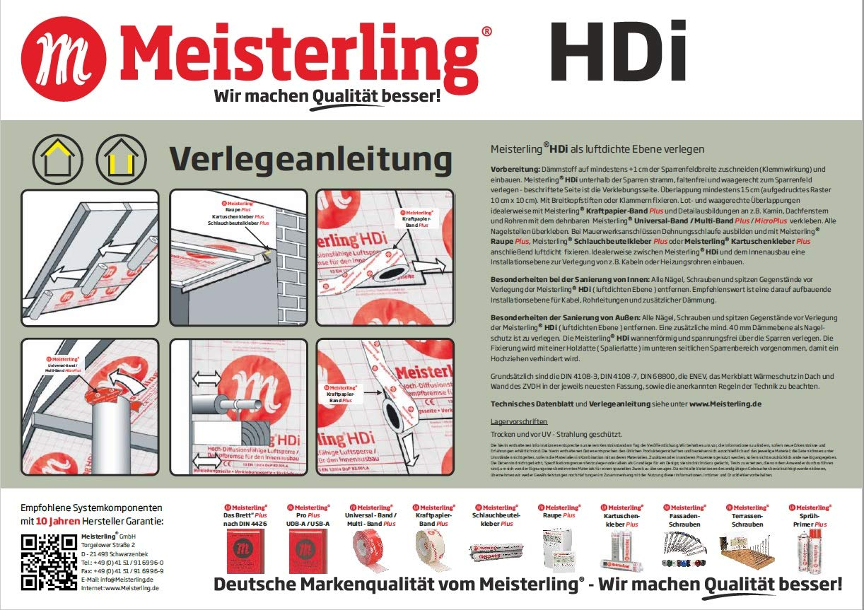 Meisterling Hdi Atmungsaktive Dampfbremse Dampfsperre Diffusionsf