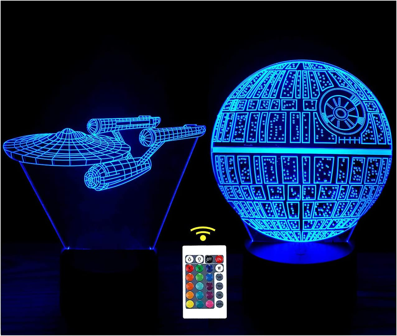 3D Optical Illusion Night Light , LED Desk Lamp Touch Control 7 Color Change USB Powered for Home Decorations or Kids Gifts (Death Star+Starships)