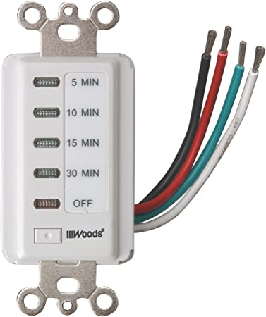 Woods 59007 Decora Style 30-15-10-5 Minute Preset Wall Switch Timer 30-M White