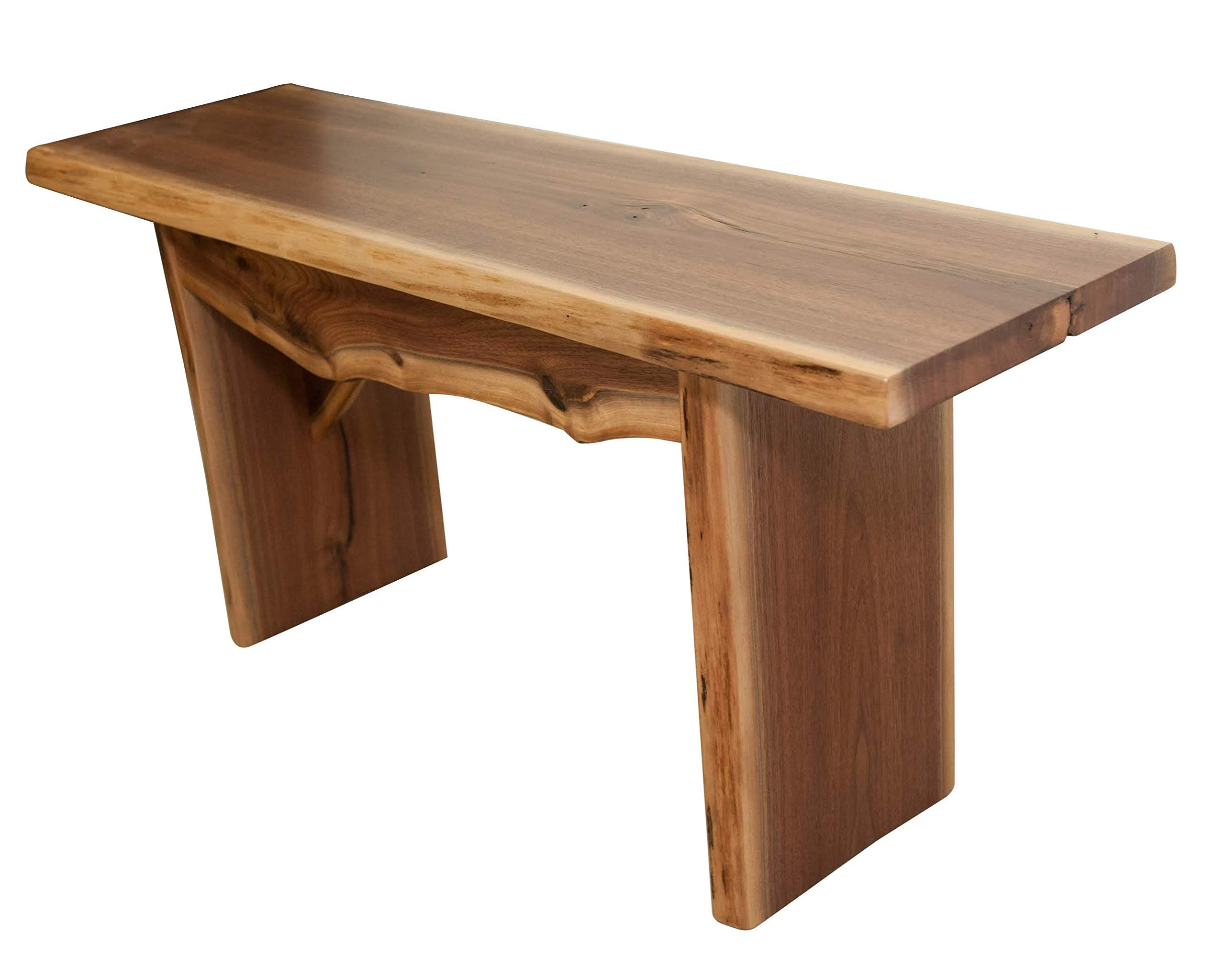 Hope Woodworking Live Edge Bench, 3 Foot, Solid Rustic Walnut Wood, Amish Made, 36''