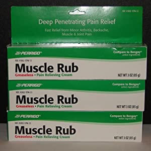 Muscle Rub Cream 3oz Large Tube (Compare to Bengay) - 3 Tubes (3)