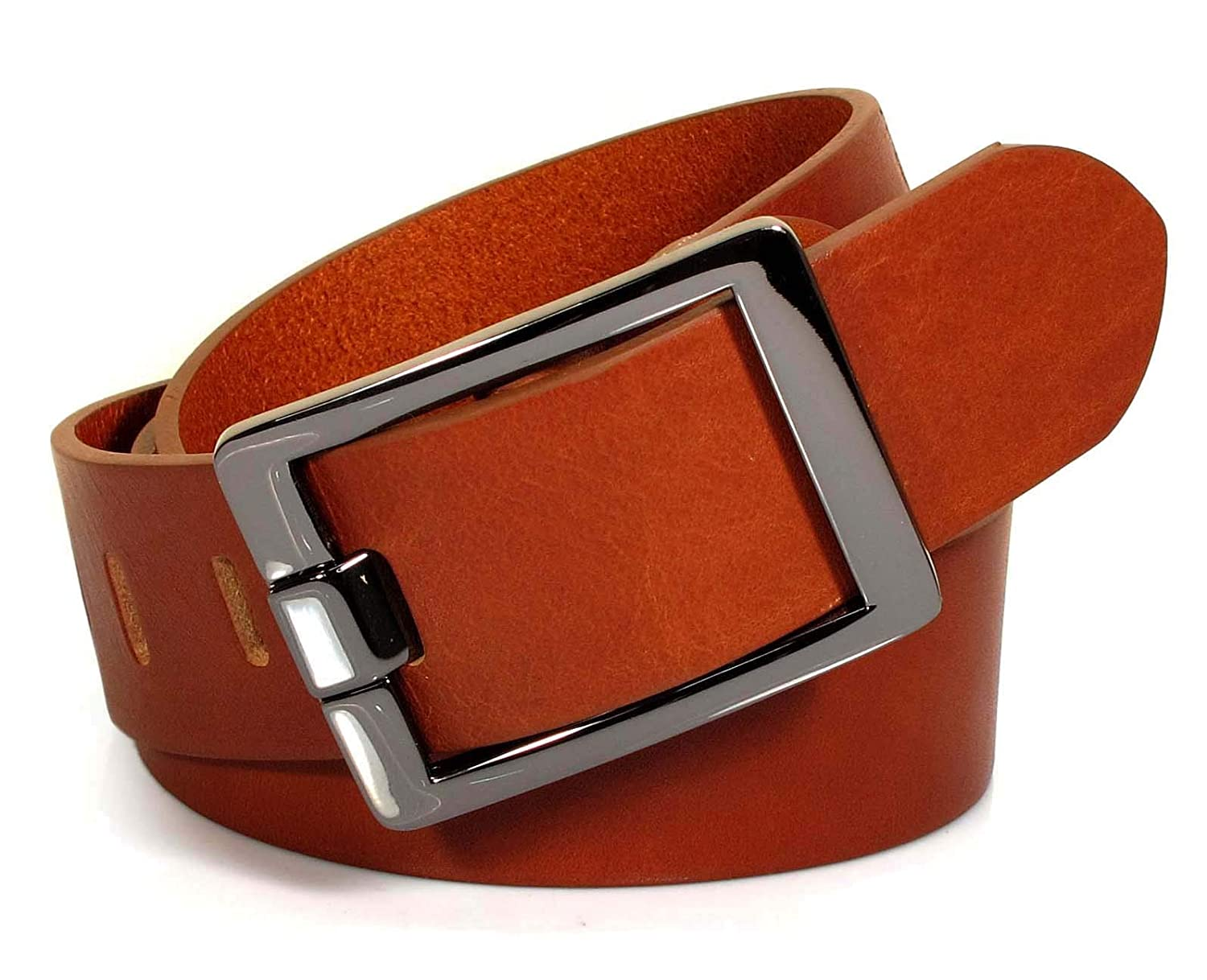 Mens Real Genuine Leather Tan Brown Belt 1.5 Wide S-XL Thick Casual Jeans UM2