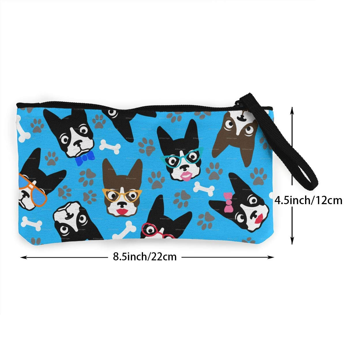 Make Up Bag Cellphone Bag With Handle DH14hjsdDEE Dog Boston Terrier Lover Funny Retro Dogs Zipper Canvas Coin Purse Wallet