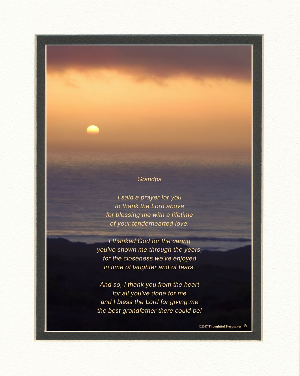 Grandpa Gift with Thank You Prayer for Best Grandfather Poem. Ocean Sunset Photo, 8x10 Double Matted. Special Grandparents Day, Birthday, for Granddad