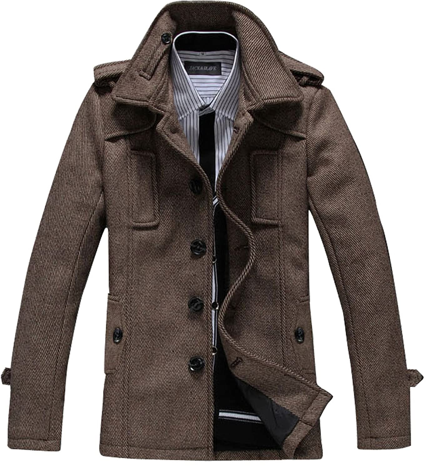 S&S Mens Lapel Single-breasted British Style Half Trench Coat Tweed Blazers