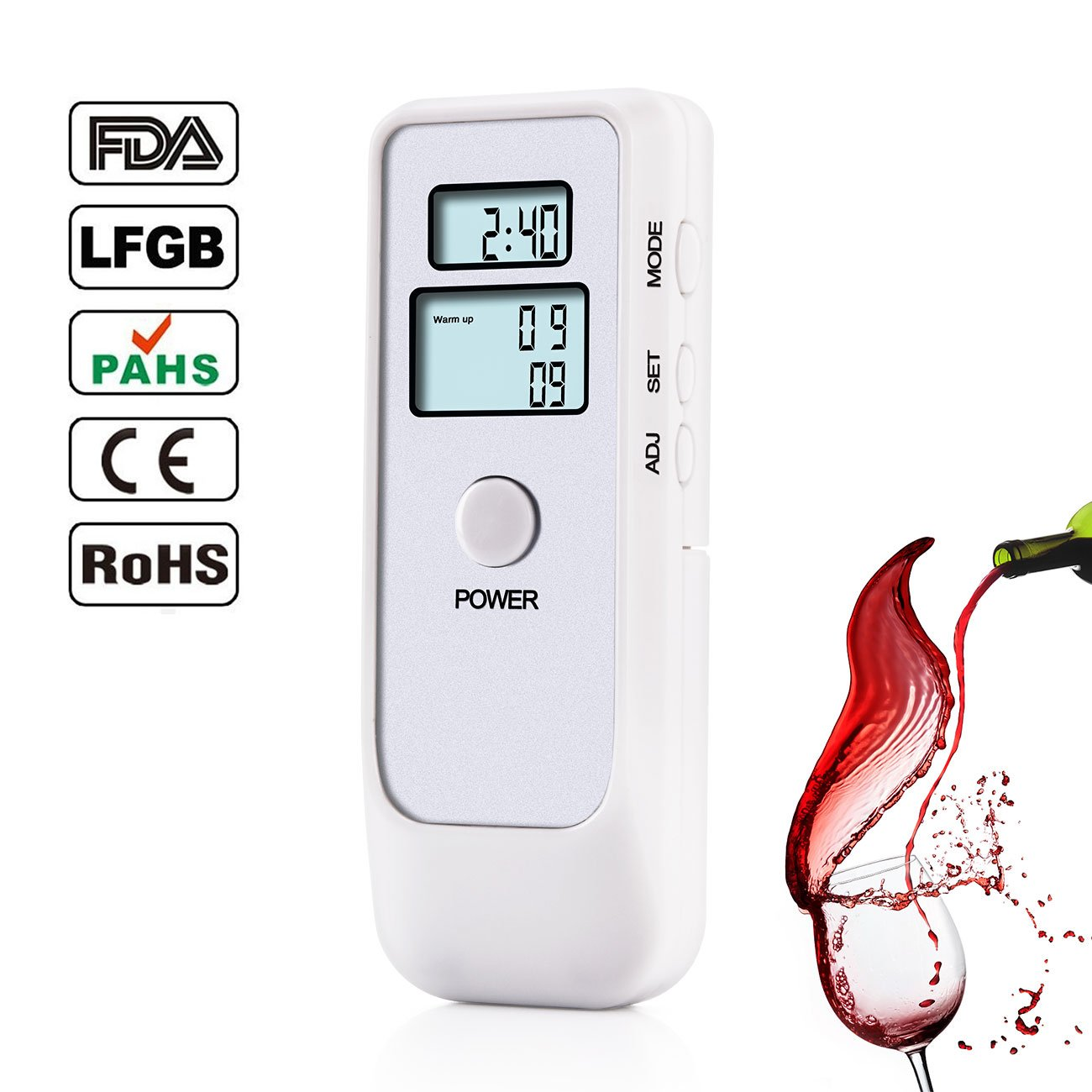 Professional Digital Breathalyzer, FitMaker Portable Breath Alcohol Tester with LCD Screen for Home Use (New White)