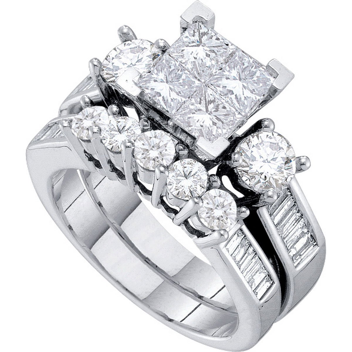 Diamond Princess Engagement Ring & Wedding Band Set Solid 14k White Gold Bridal Illusion Style 2.00 ctw by GemApex
