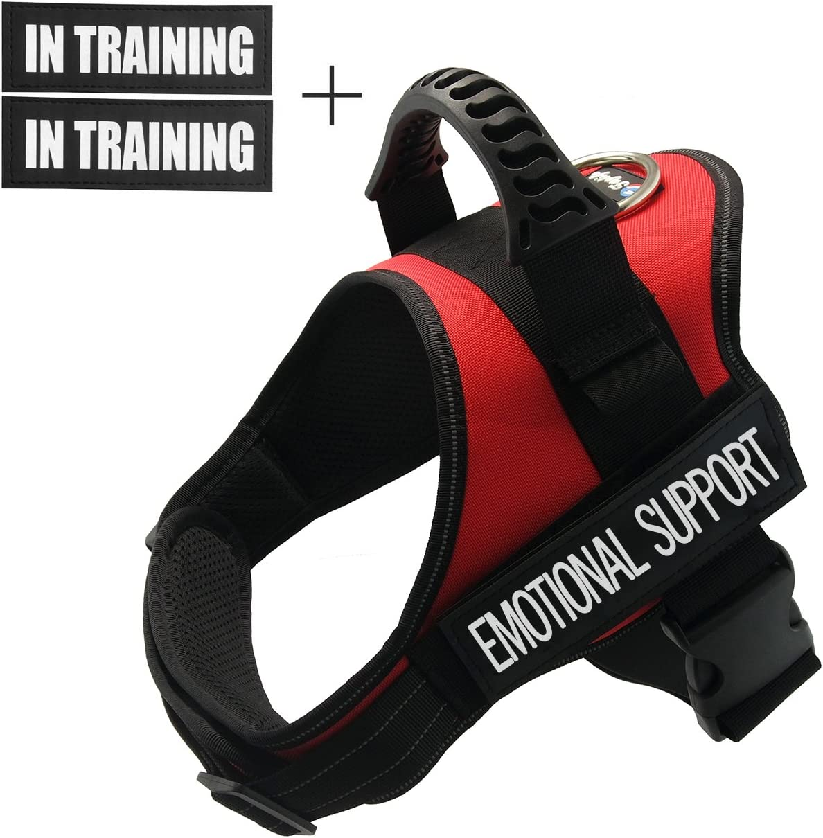 Fairwin Emotional Support Dog Vest Harness for Service Dog - Adjustable Nylon with Removable Reflective Patches for Emotional Support Dogs Large Medium Small Sizes