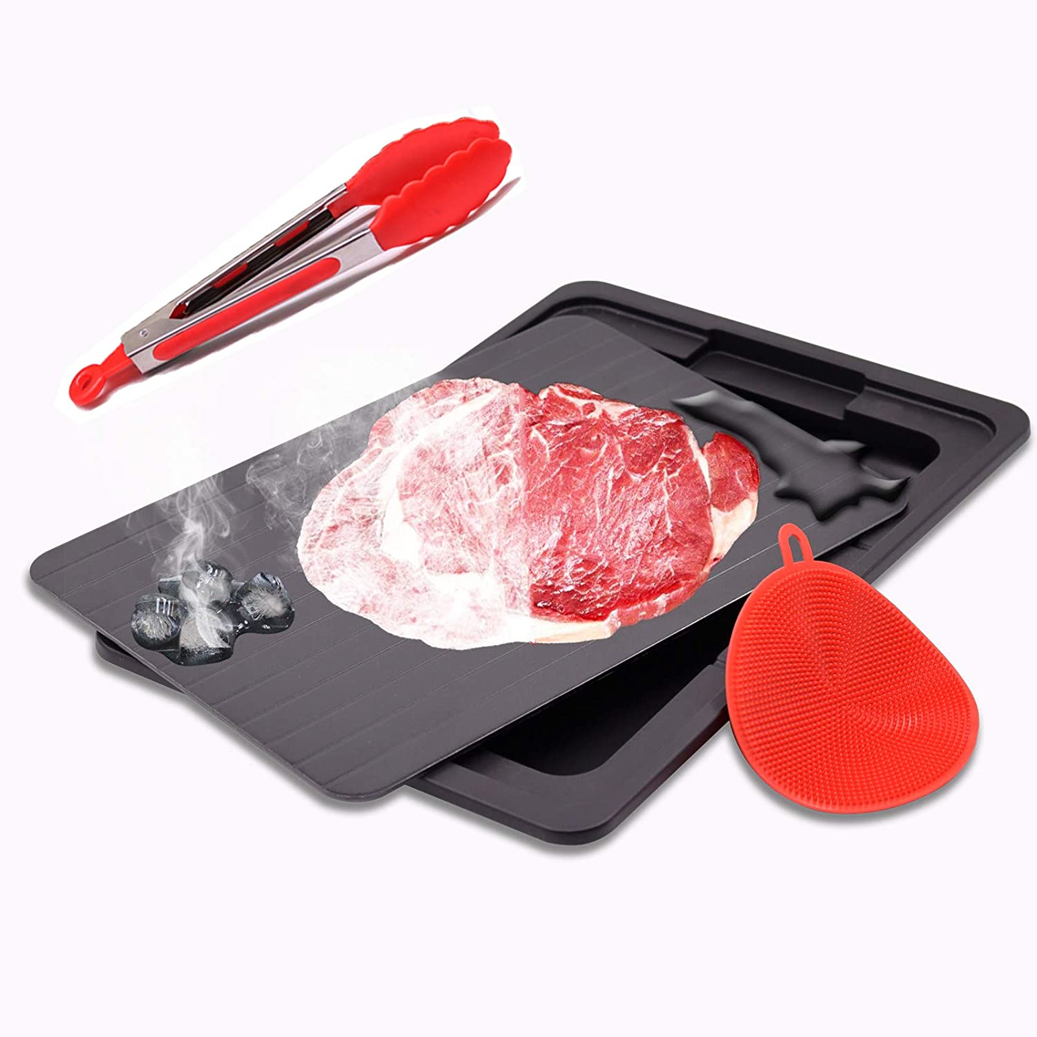 Rapid Defrosting Tray for Frozen Meat | Defrost Frozen Food | Large Size Defroster Plate Thaw | Kitchen Keen Defrosting Tray with Drip Tray | /Silicone Sponge/Tongs(thawing tray)